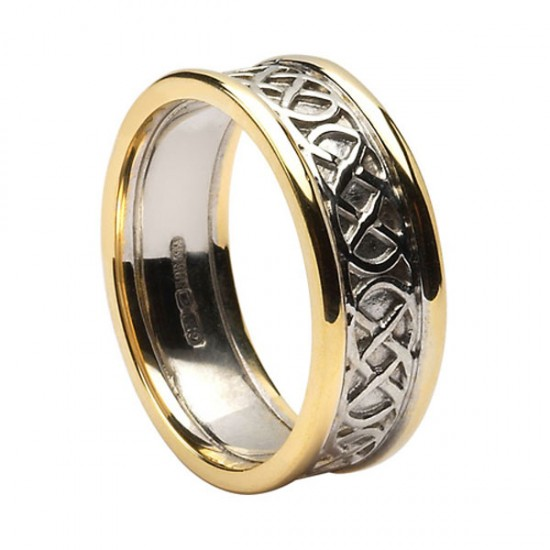 White Gold Pierced Celtic Knot Wedding Ring with Yellow Gold Trim