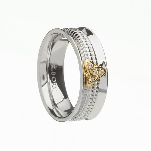 Silver with 10K Trinity Knot CZ Curved Celtic Ring with Rope Centre - Wide