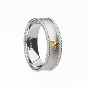 Silver with 10K Trinity Knot and Cubic Zirconia Wide Celtic Ring with Rope Edges - Brushed Finish