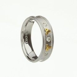 Silver with Gold Trinity Cubic Zirconia Celtic Ring