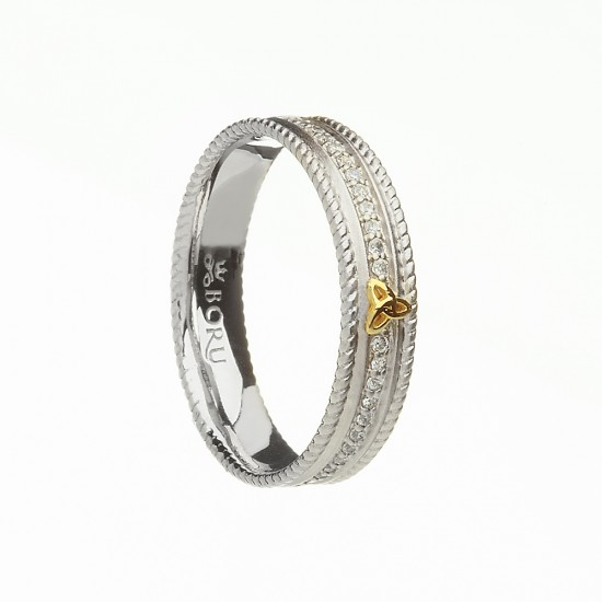Silver with Gold Trinity Knot and Cubic Zirconia Narrow Celtic Ring with Rope Edges - Brushed Finish