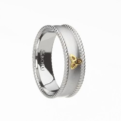 Silver with Gold Trinity Knot and Cubic Zirconia Wide Celtic Ring with Rope Edges - Brushed Finish