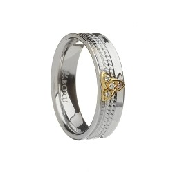 Silver with Gold Trinity Knot CZ Curved Celtic Ring with Rope Centre - Narrow