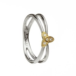 Silver with Gold Trinty Knot Split Celtic Ring