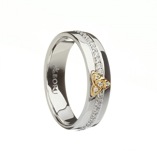 Silver with Gold Trinty Knot with Cubic Zirconia Wide Celtic Ring