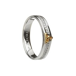 Silver with Gold Trinty Knot With CZ Narrow Celtic Ring