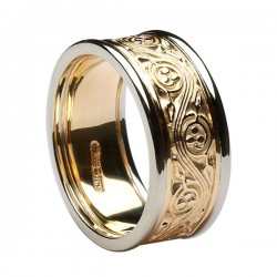 Gold Celtic Spiral Ring with White Gold Trim