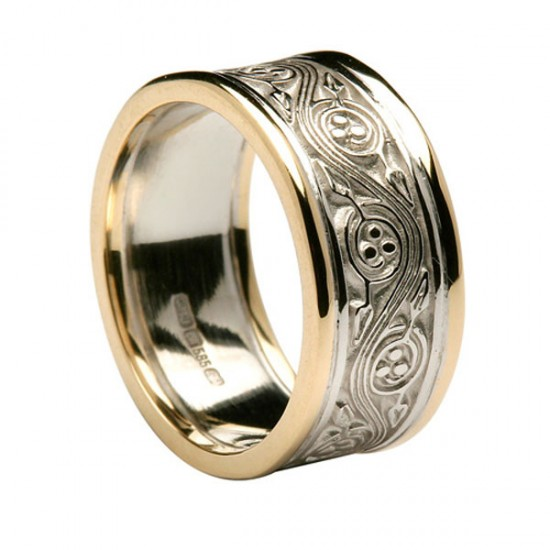Gold Celtic Spiral Ring with Yellow Gold Trim