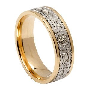 White Gold Warrior Shield Signature Wedding Band