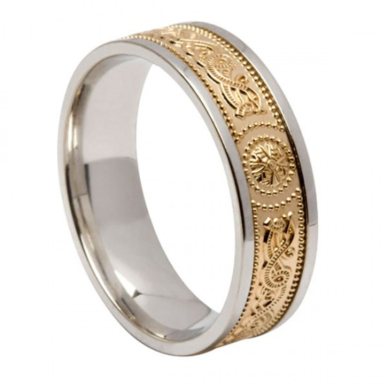 Silver Wedding Ring with Gold Warrior Shield