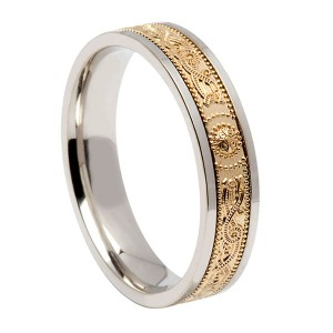 Silver Signature with 10k Gold Warrior Wedding Band