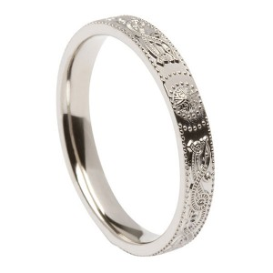 Narrow Silver Comfort Fit Warrior Shield Wedding Ring