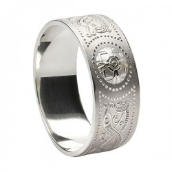 Wide Warrior Shield Wedding Ring - Comfort Fit Wedding Ring