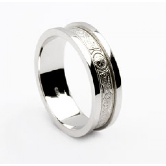 Gold Celtic Shield Wedding Band with Flat Rims