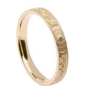Narrow Comfort Fit Warrior Shield Gold Wedding Ring