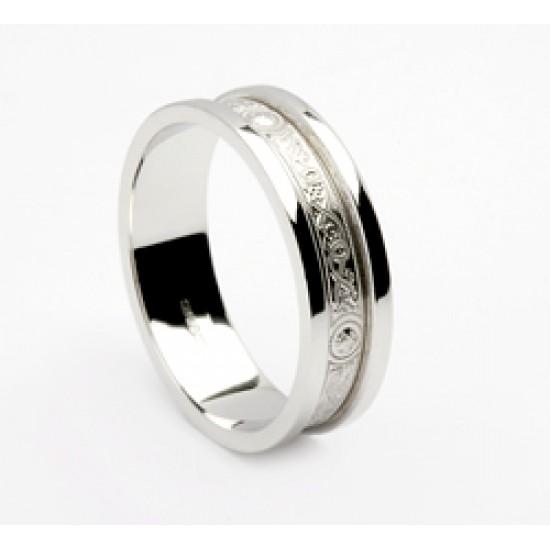 Silver Celtic Shield Wedding Band