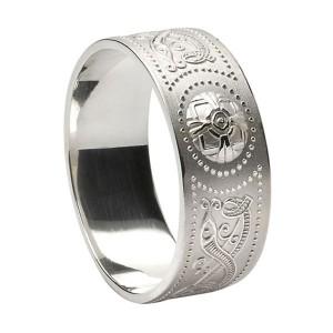 Wide Silver Warrior Shield Wedding Band