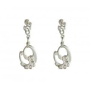 Silver Celtic Swan Children Of Lir Drop Earrings
