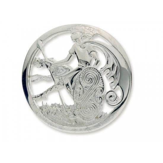 Silver Cuchulainn Warrior and Wolfhound Brooch