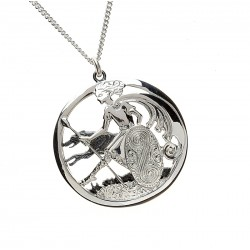 Silver Cuchulainn Warrior and Wolfhound Pendant