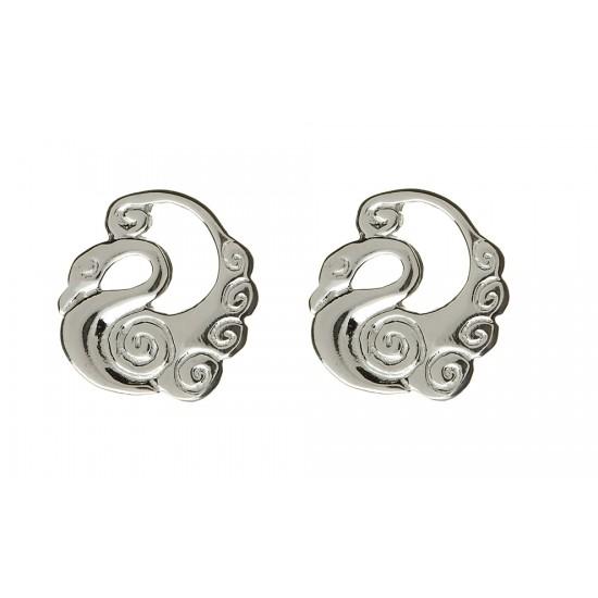 Silver Round Children of Lir Stud Earrings