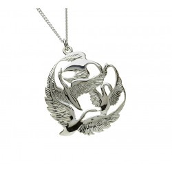 Silver Round in Flight Three Swan Children of Lir Pendant