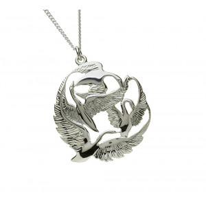 Silver Round in Flight Three Swan Children of Lir Pendant