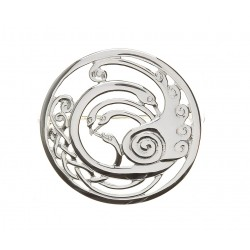 Silver Round Large Celtic Children of Lir Brooch