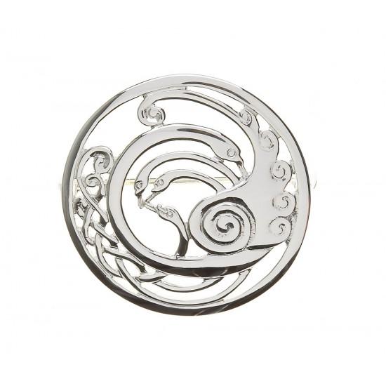 Silver Round Large Celtic Children of Lir Brooch