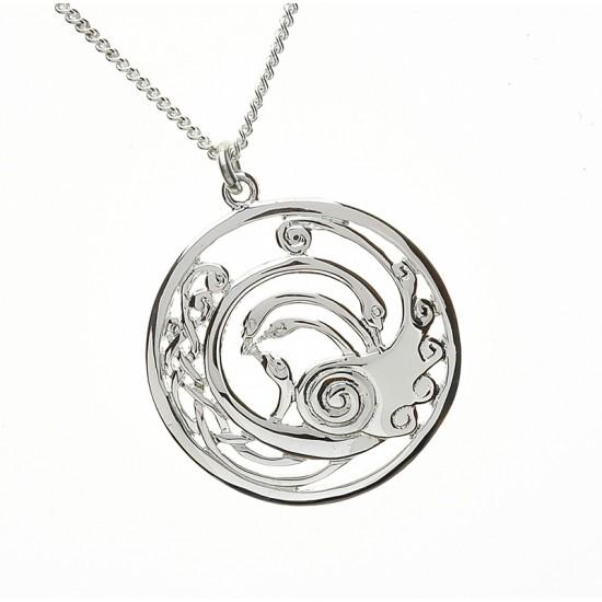 Silver Round Large Celtic Children of Lir Pendant