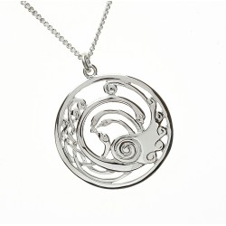 Silver Round Large Celtic Children of Lir Pendant