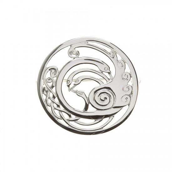 Silver Round Medium Celtic Children of Lir Brooch