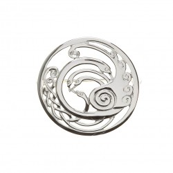 Silver Round Medium Celtic Children of Lir Brooch