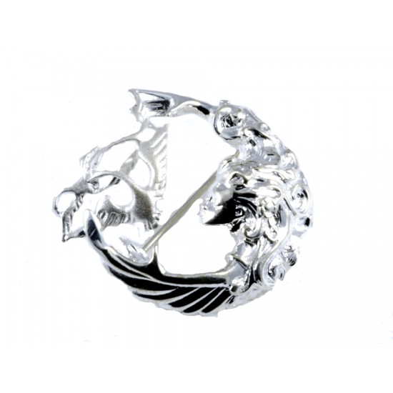 Silver Three Swan Children of Lir Brooch