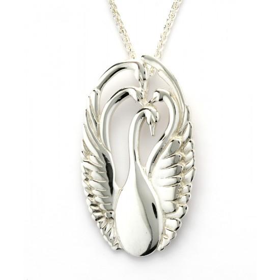 Silver Three Swan Pendant