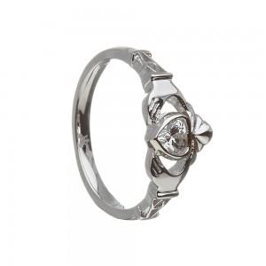 April Cubic Zirconia Birthstone Claddagh Ring