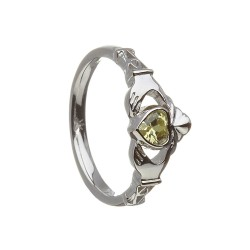 August Peridot Birthstone Claddagh Ring
