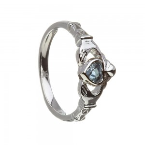 December Blue Topaz Birthstone Claddagh Ring