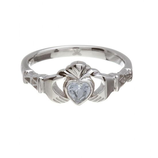 March Aquamarine Birthstone Claddagh Ring
