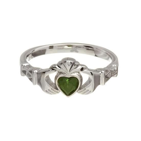 May Emerald Birthstone Claddagh Ring