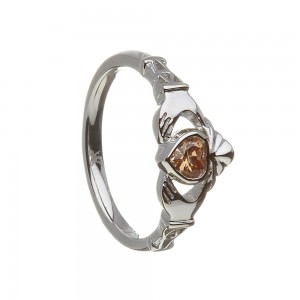 November Citrine Birthstone Claddagh Ring