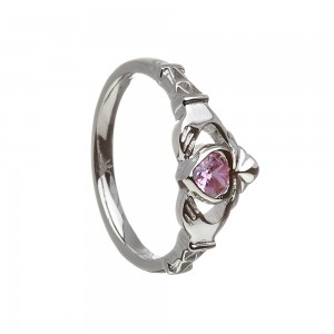 October Pink Tourmaline Birthstone Claddagh Ring
