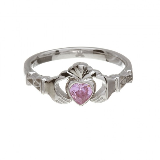 October Pink Tourmaline Birthstone Claddagh Ring