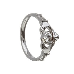 April Cubic Zirconia Birthstone Claddagh Ring