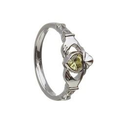 August Peridot Birthstone Claddagh Ring