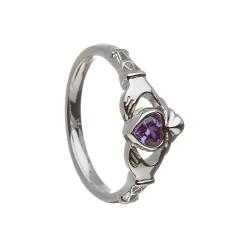 February Amethyst Birthstone Claddagh Ring