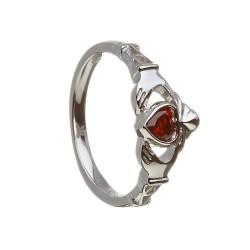 January Garnet Birthstone Claddagh Ring
