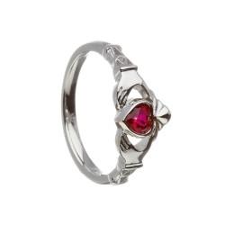 July Ruby Birthstone Claddagh Ring
