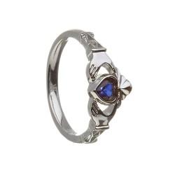 September Blue Sapphire Birthstone Claddagh Ring