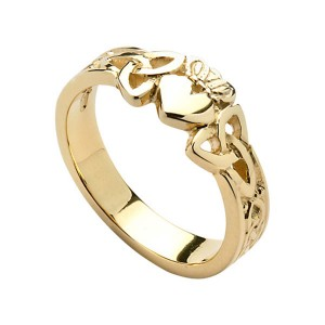 Gold Ladies Claddagh Heart with Trinity Knot Shank